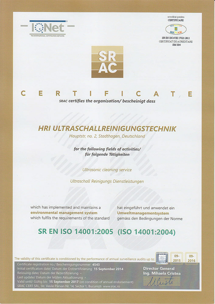 Umweltmanagementsystem DR EN ISO 14001:2005