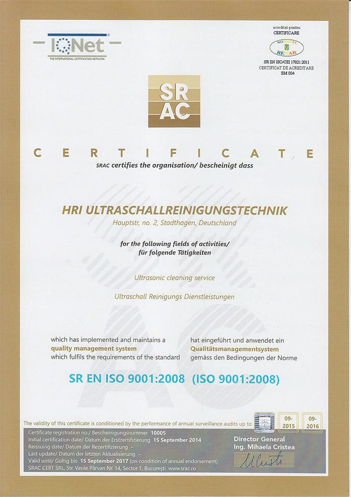 ISO 9001:2008 Zertifikat - HRI Ultraschall-Reinigung
